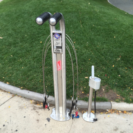 A bike fix-it station in Grand Rapids similar to those being installed in Pontiac