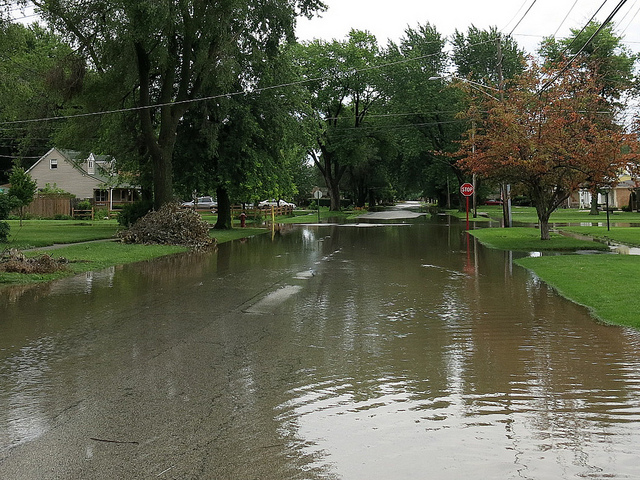 Roadway flooding in Midlothian, IL, July 12, 2014