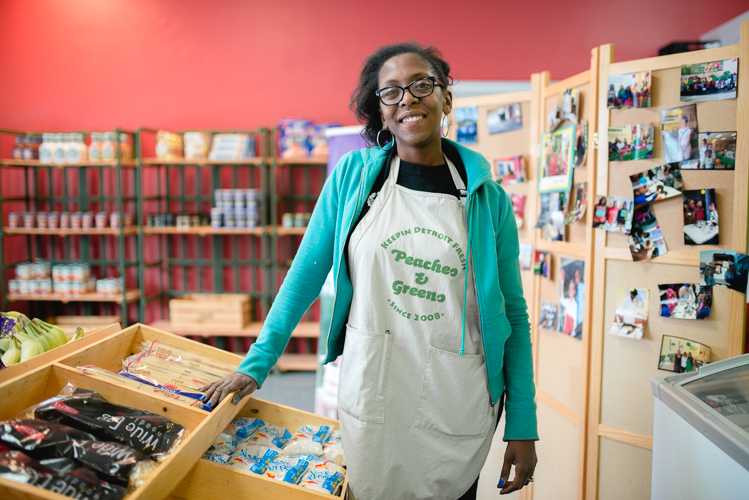 Uclesha Ray, the manager of Peaches & Greens, a grocery store and mobile market in Detroit's North End.