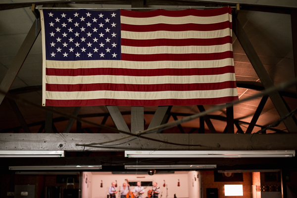 American flag in the rafters