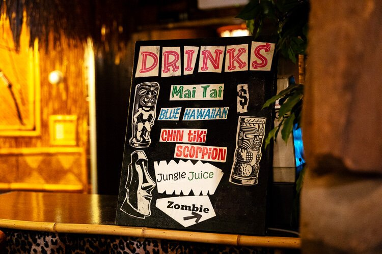 A bar wouldn't be a tiki bar without some of the classic tropical drinks, like the Zombie or the Scorpion.