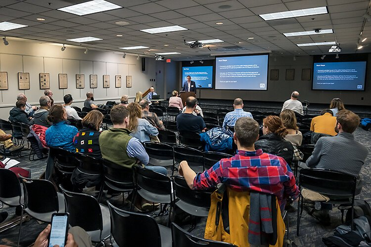 The public hearing for the RTA's Ann Arbor to Detroit pilot express bus service program at the downtown Ann Arbor District Library Branch.