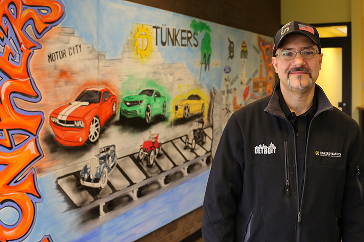 Artist and machinist Gino Lazzari took six weeks to create his mural at Tunkers in Sterling Heights.