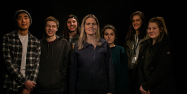 Dr. Lisa Grunewald, photography teacher at Henry Ford II High School, with Meaghan Drohan, Kaden Rucinski, Ryan Shaner, Caitlin Schneider, Kaitlyn Price and Adam Williams.