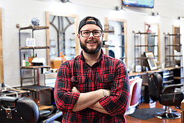 Ryan Dietiker, owner of Forefathers Grooming, is relying on his community to get his small business through COVID-19 closures.