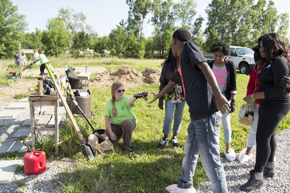 Flint students learn about gardening.
