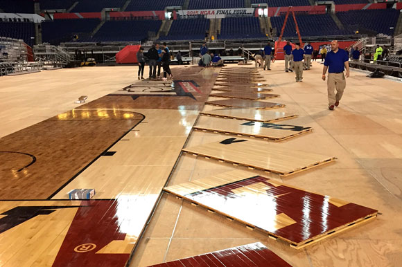 The maple floor of the 2015 Men's Final Four basketball court came from Michigan trees.