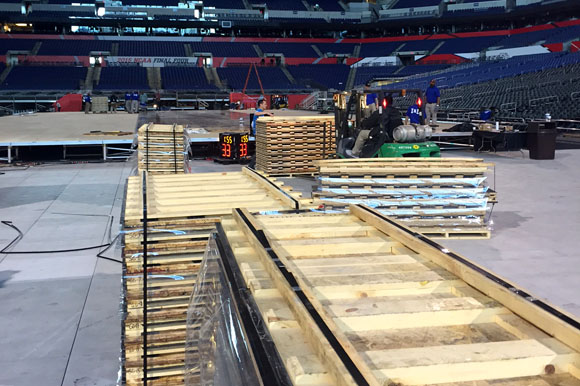 The process of installing the 2015 NCAA Men's Final Four Court in Indianapolis.