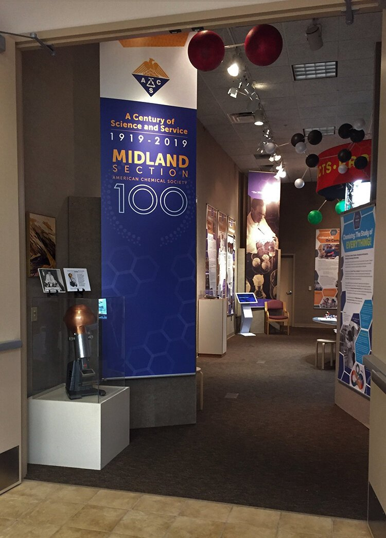 The Midland section of the American Chemical Society hosted its Centennial exhibit from May 2019 until January 2020 at the Herbert D. Doan Midland County History Center.