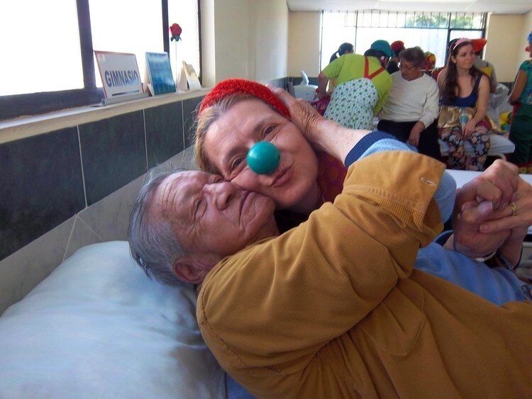 "Dr. Kim Palka on trip in Ecuador with other naturopaths doing clowning, which she learned through The Gesundheit Institute, founded by Hunter Doherty ""Patch"" Adams."