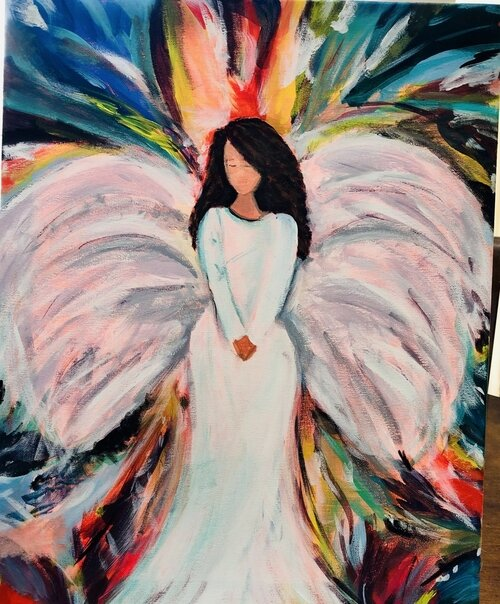 The Quarantine Chronicles displays an angel Lorie created in an oil and acrylic painting on canvas.