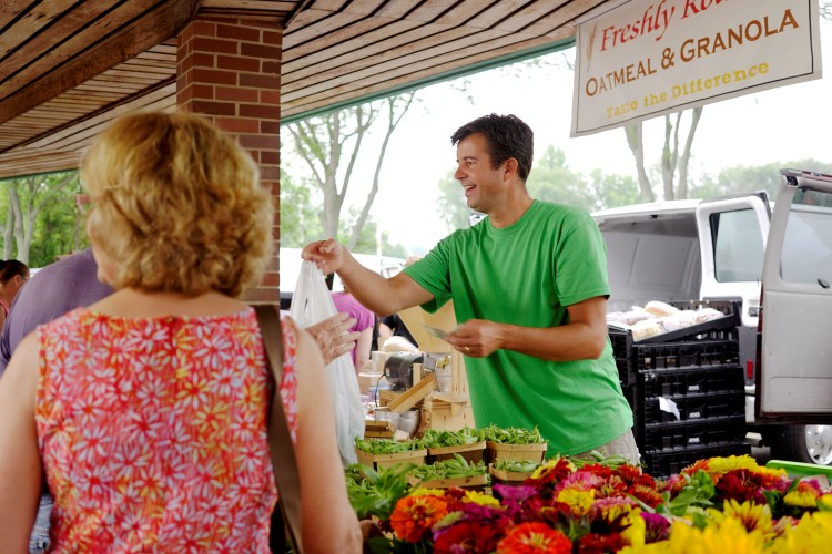 Midland's farmers market on a busy summer weekend