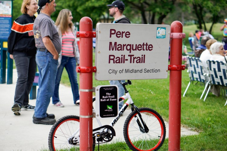 The Pere Marquette Rail Trail, popular with runners, walkers, cyclists and plenty others