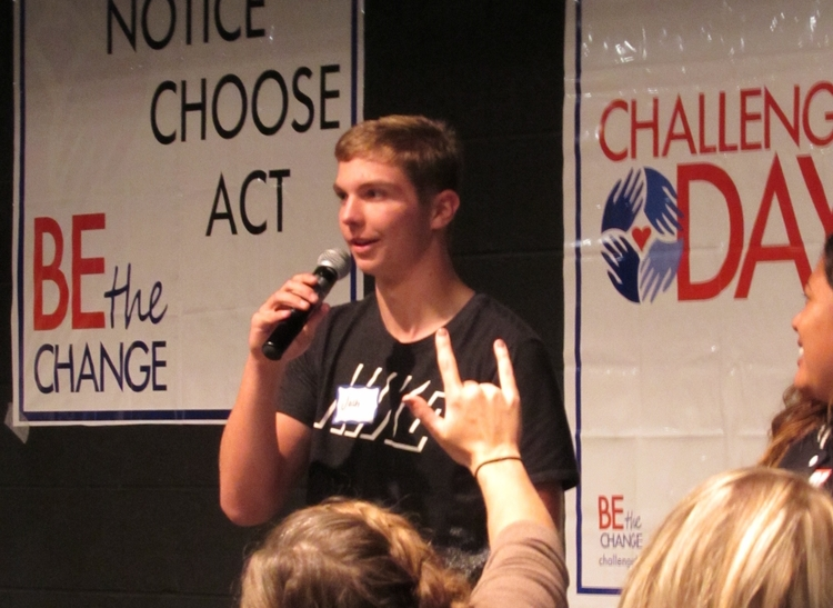 A student speaking during Challenge Day 2017