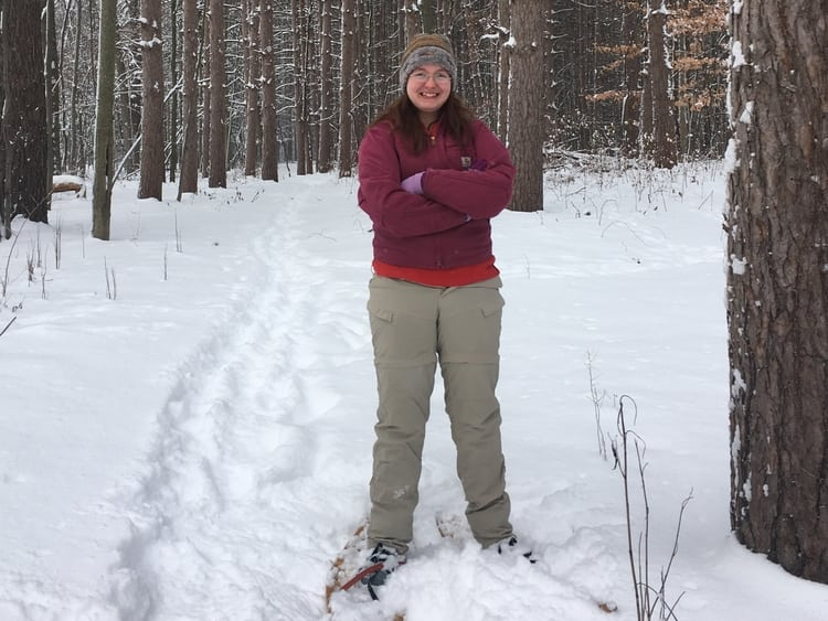 Students learn outdoor recreation activities like snowshoeing