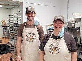 Chris & Heather Welch of the Aviator Cookie Company. He's the owner, she's the assistant manager.