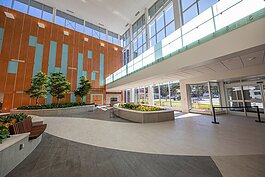 The lobby of the MidMichigan Health Heart and Vascular Center.