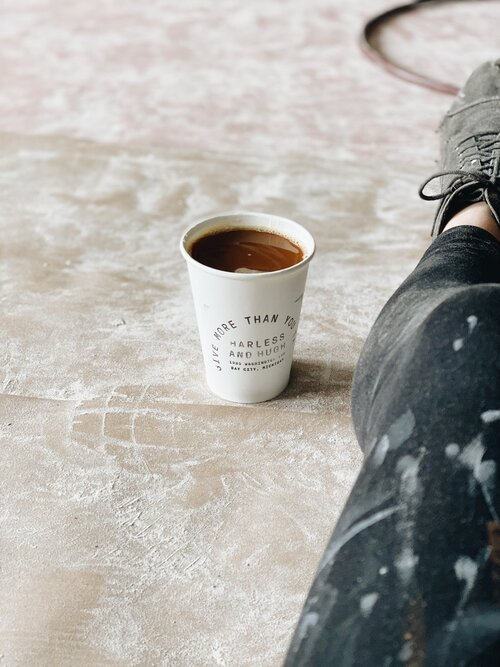 Caffeinating during renovations with Harless + Hugh Coffee. (PC: Julia Ross/Harless + Hugh)
