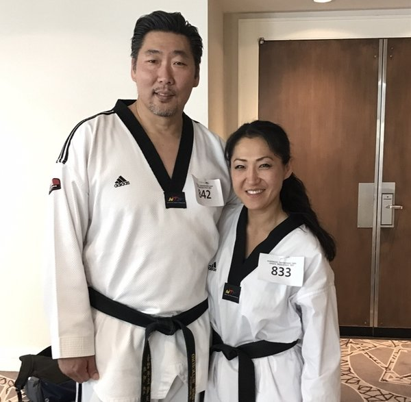 Jaewon with her friend Jimmy Kim, Olympic gold medalist.