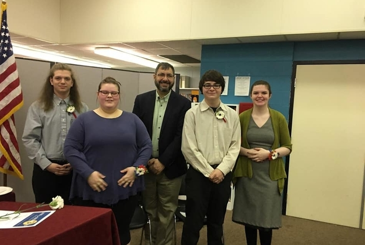 William Conklin, Hayley Hammond, Jim Stamas, Alex Laughton and Cora Coin pose for a picture after the ceremony.