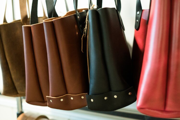 Tote bags are among Memento Leather Co.'s most popular items.