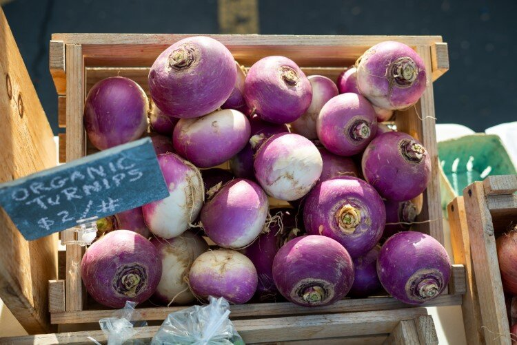 Fresh, organic turnips from Good Stead Farm are just some of the produce market-goers found at this year's Midland Area Farmers Market held at Dow Diamond.