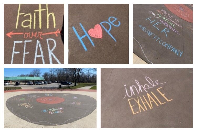 Lisa Gruenberg, Kassi Gruenberg and Teiah Falk spent some time at the Midland Tridge creating messages of hope and encouragement.