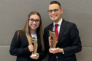 SVSU students Lindsey Mead, from Saginaw, and Justin Weller, from Bay City, are preparing for a national moot court tournament Jan. 17 and 18.