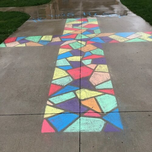 Violet and Larissa Thurlow created this colorful cross for Easter in Bay City.