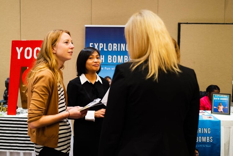 Women during the networking hour at the 11th annual Women's Empowerment Symposium.