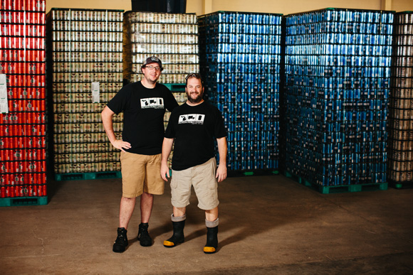 Andrew McLean and Scott Richards, Co-Owners/Operators of Michigan Mobile Canning, at Right Brain Brewery in Traverse City.