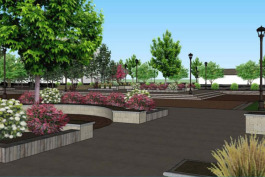 Landscaping in the new Heritage Plaza includes native plants.