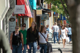 Downtown Traverse City is busy with retail and food.