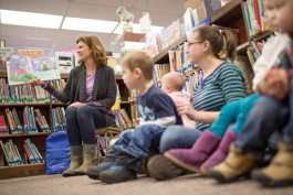 Allison Keessen reads during storytime at the North Muskegon Branch Library.