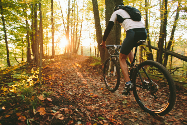Biking through the Glacial Hills Pathway and Natural Area. / Beth Price