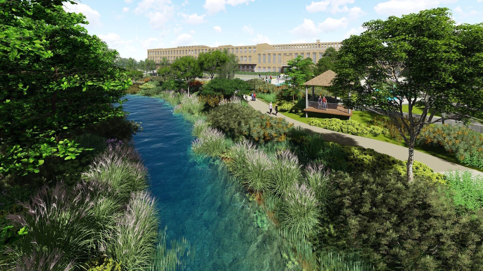 Ways to incorporate Portage Creek into the redevelopment plans for The Mill at Vicksburg without endangering the rare snuffbox mussel are seen in these plans.