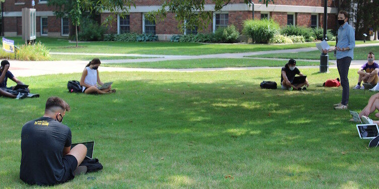 Some classes are outdoors to provide social distancing at Albion College.