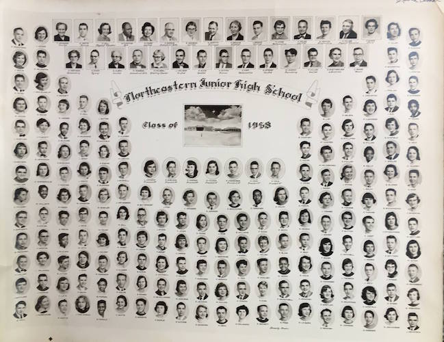 This photo of the Northeastern Junior High School Class of 1958 is just one of many class photos available is just one of hundreds of photos available to see on the Facebook page or at the annual reunion.