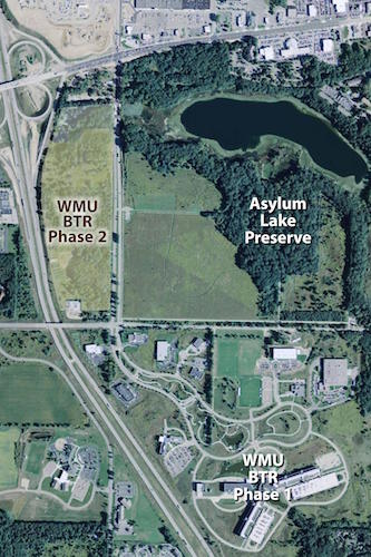 An aeriel view of the second BTR park in relation to nearby development and Asylum Lake Preserve