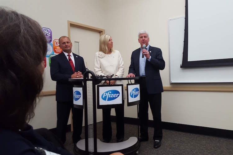 Ron Perry, Kristen Lund-Jurgensen, and Gov. Rick Snyder answer questions about the upcoming Pfizer expansion.
