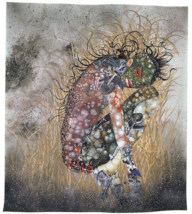Wangechi Mutu, Hide 'n' Seek, Kill or Speak, 2004, Paint, ink, collage, mixed media on mylar, © Wangechi Mutu, Courtesy of the artist and American Federation of Arts, Black Refractions exhibit