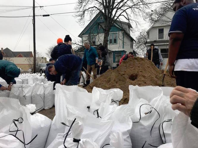 It took many sandbags to deal with flooding in February.