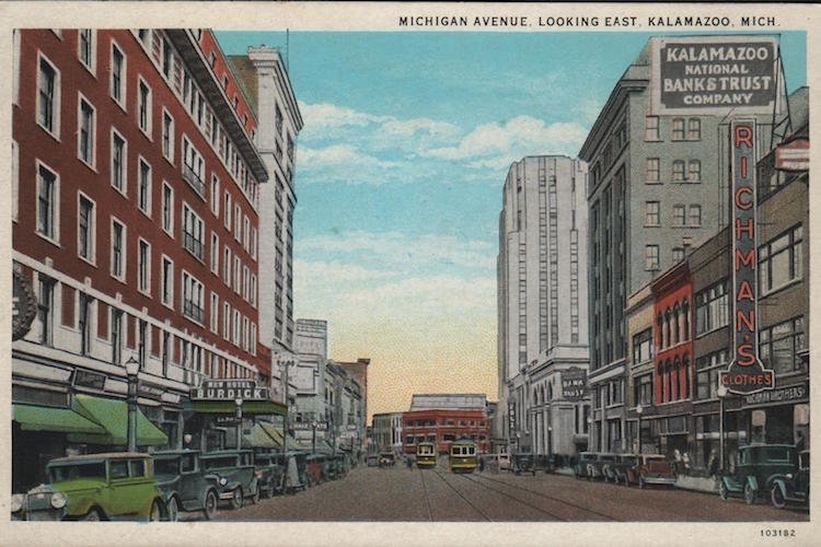 A post card from 1920s-1930s showd not only two-way traffic, but two streetcars used to fit on Michigan Avenue.