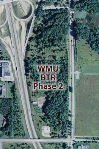 An aerial view of the second BTR park for WMU
