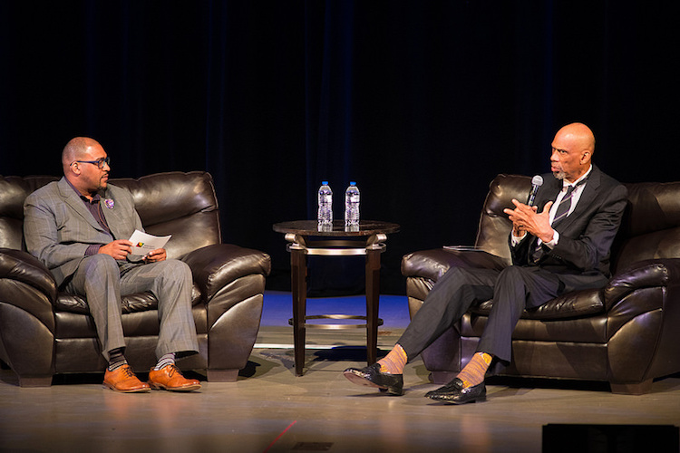 Tim Terrentine and Kareem Abdul-Jabbar at the Reading Together community discussion