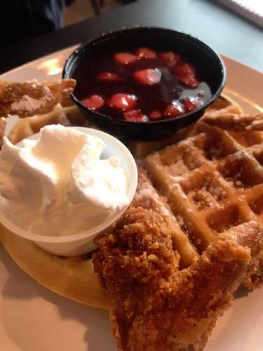 Strawberries and Cream Waffles and Chicken is a perfect blend of savory and sweet.