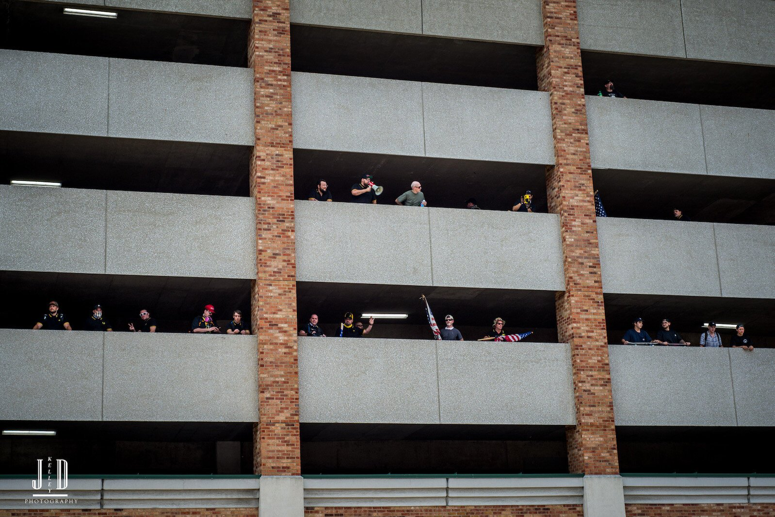 Proud Boys retreated to the Radisson Parking ramp after counter-protestors blocked them from entering the Arcadia Festival Site.