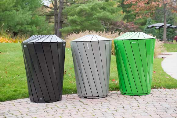 landscape forms helps create recycling receptacles for central park