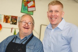 Arts and  craft Participant Ronald Thayer with Jim Pearl