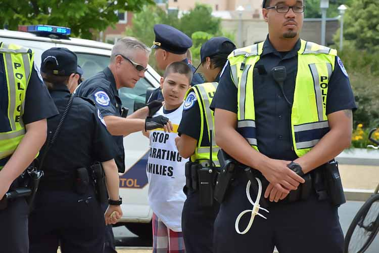 12 yr old Esteban Verdugo, MU member, arrested for civil disobedience calling for reform in D.C.  His father was deported last year.